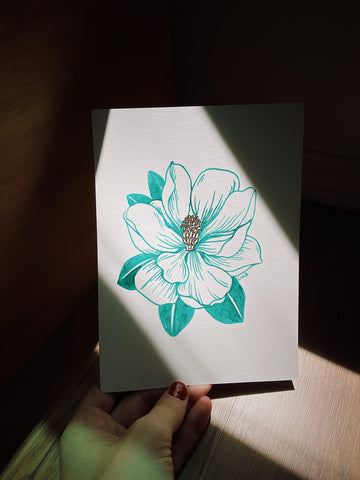 Original Pen & Aqua Green Ink Magnolia