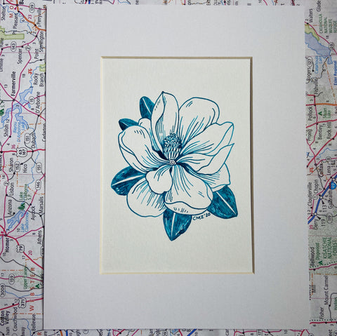 Original Pen & Ink Teal Magnolia Drawing