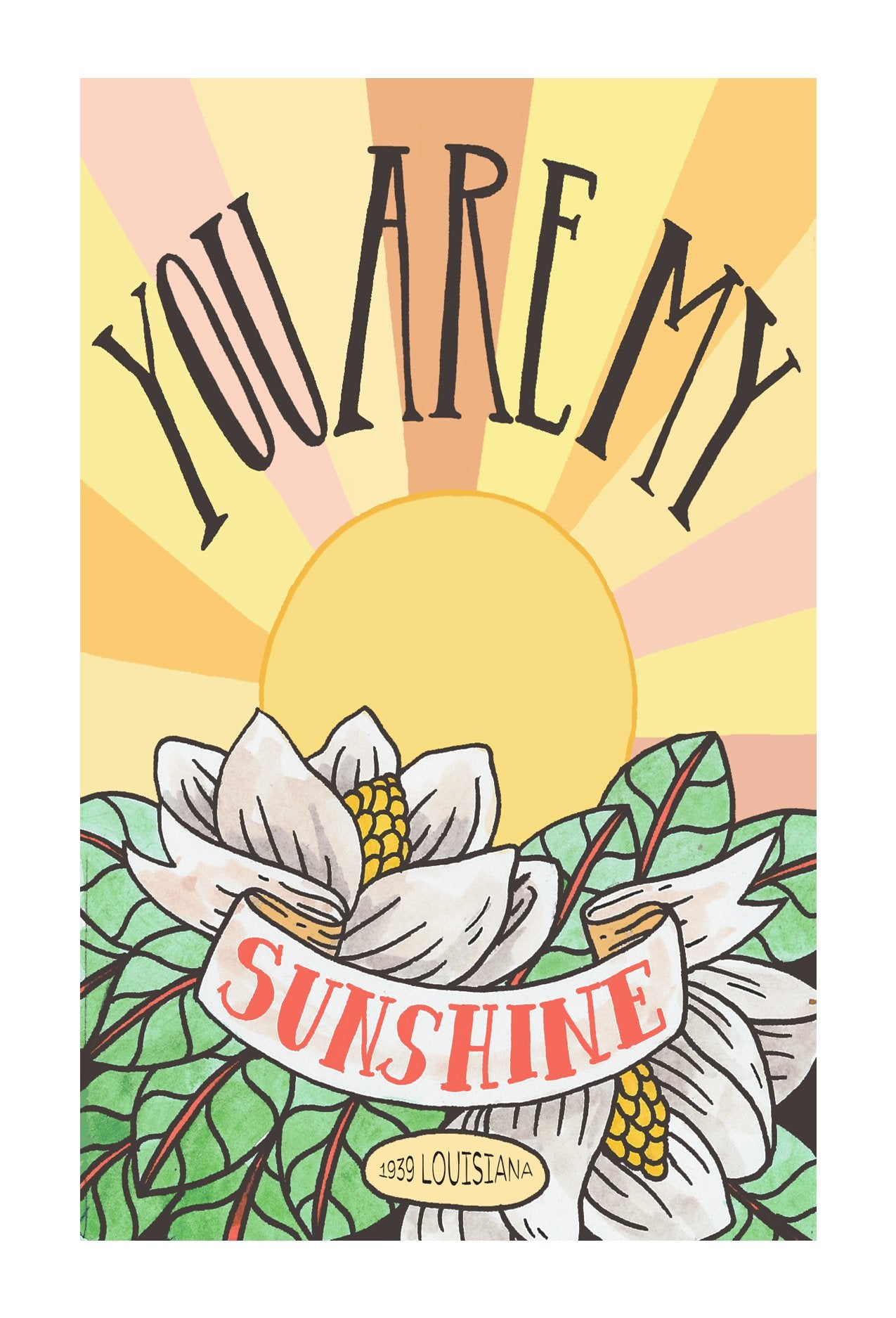 You Are My Sunshine Postcard 4x6
