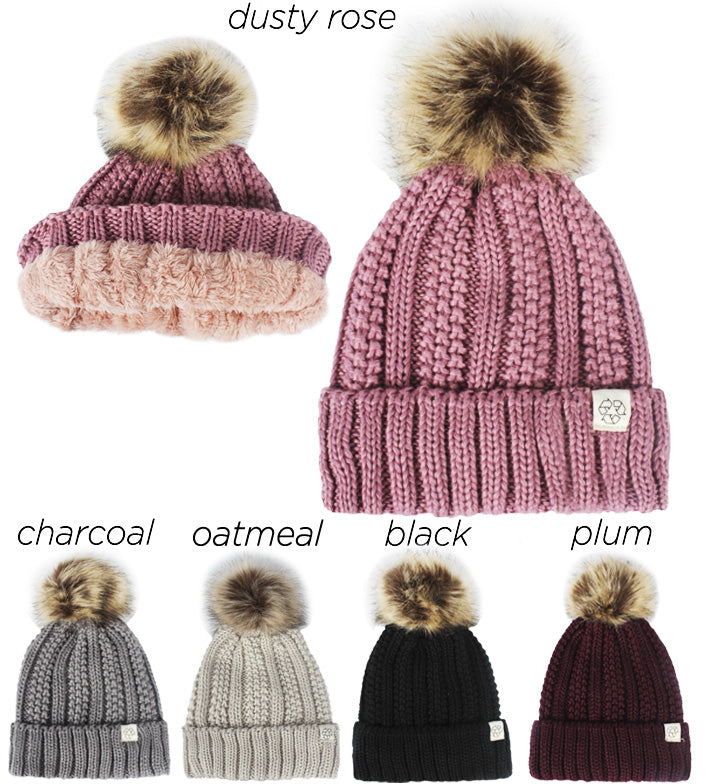 ABB35R - Recycled Polyester Beanie with Faux Fur Pom