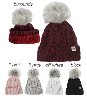 ABB411R - Recycled Polyester Beanie with Lining & Faux Fur Pom