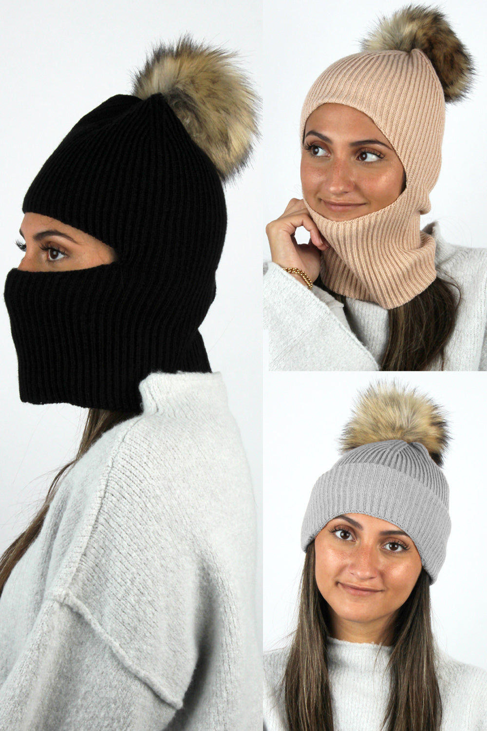 ABBL1891 - Face Covering Knit Beanie with Faux Fur Pom