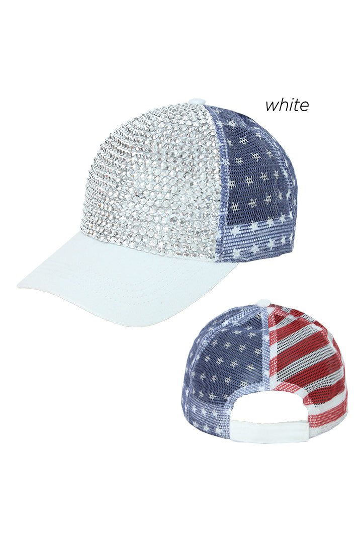 ACAPM6000 - Americana Bling Mesh Cap - David and Young Fashion Accessories
