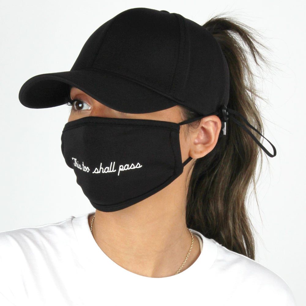 "ACAPTMSK205 - ""This Too Shall Pass"" Antibacterial Coated Ponytail Cap and Mask"