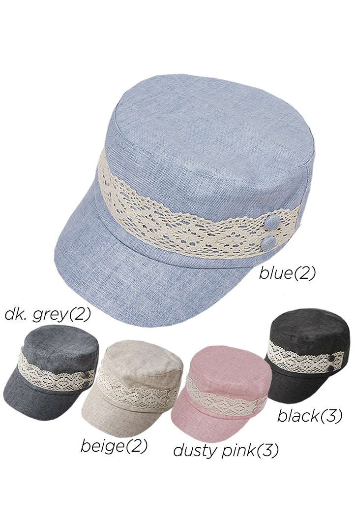 ACD46447 - Linen Blend with Lace Trim Cadet (sold as 12pcs assorted pack) - David and Young Fashion Accessories