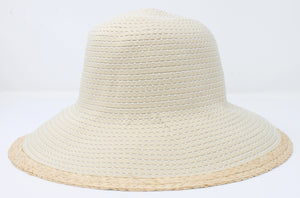 AFP9355 - Pic Stitch Ribbon Hat with Straw Brim Edge - David and Young Fashion Accessories