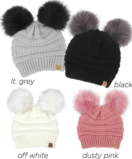 AJRBB120 - Solid knit beanie with two Pompoms - David and Young Fashion Accessories