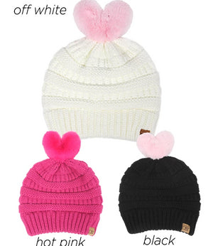 AJRBB284 - Heart shaped pom beanie for kids colorways - David and Young Fashion Accessories