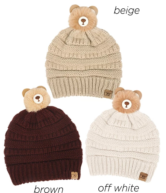 AJRBB285 - Teddy Bear Pom kids beanie - David and Young Fashion Accessories