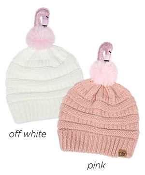 AJRBB286 - Flamingo pom kids beanie - David and Young Fashion Accessories