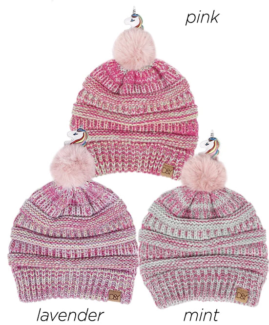 AJRBB287 - Pink Unicorn pom kids beanie - David and Young Fashion Accessories