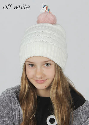AJRBB291 - Unicorn pom kids beanie - David and Young Fashion Accessories