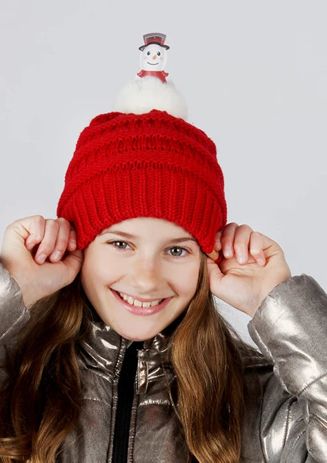 AJRBB294 - Snowman pom Kids Beanie - David and Young Fashion Accessories