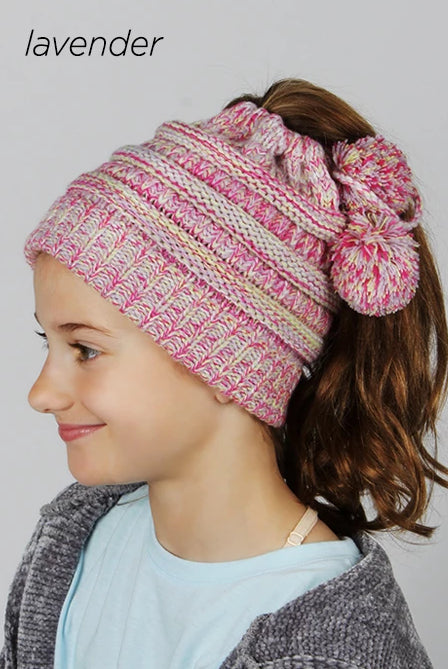 AJRBBT1012 - Halo Ribbed Knit Beanie With Pony Tail - David and Young Fashion Accessories