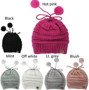 AJRBBT1081 - knit solid beanie ponytail w/faux fur pom & suede tab - David and Young Fashion Accessories
