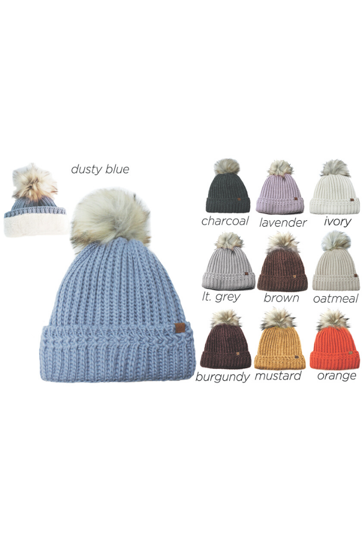 FSBB230 - Knit beanie with faux fur pom lining and D&Y tab