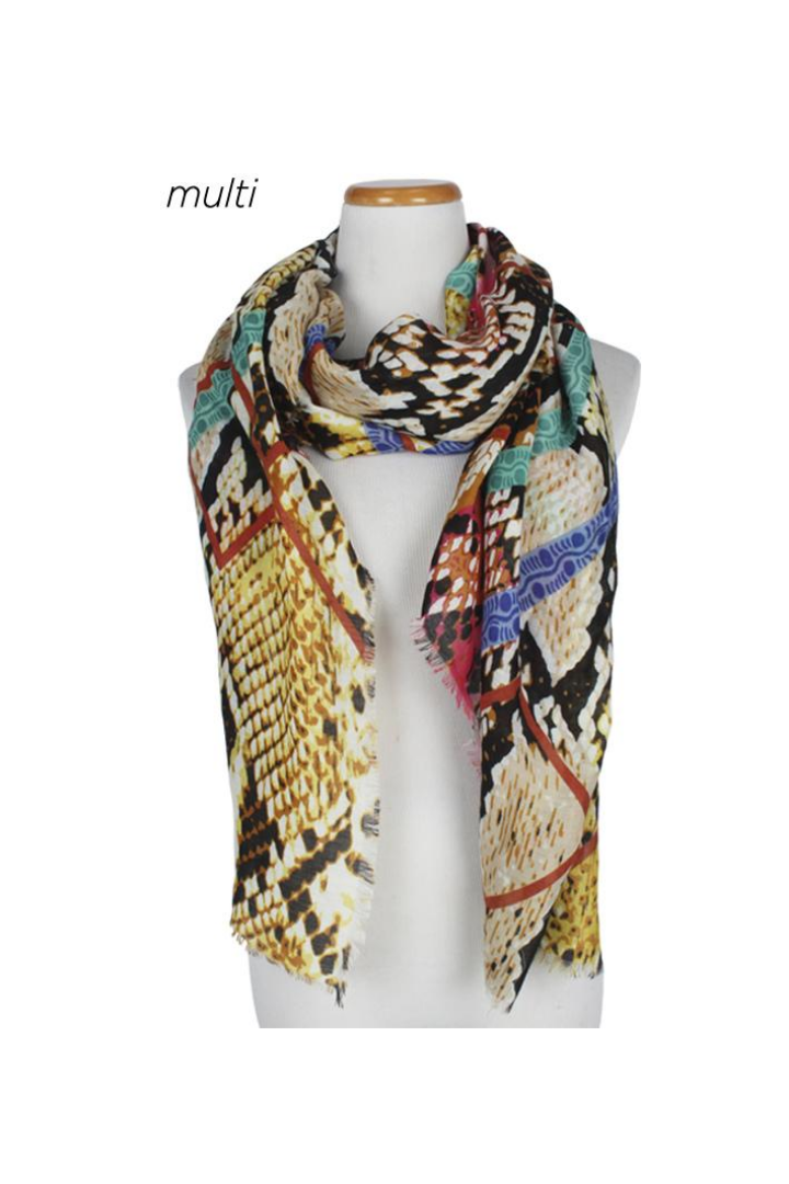 PTSF070106 - Multi Print & Colored Lightweight Scarf