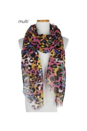 "PTSF6290 - Multi Colored Leopard Print Lightweight Scarf 35"" x 75"""