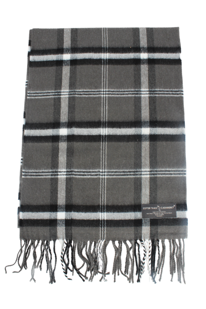 ZTW122421 - Black Plaid Softer Than Cashmere Scarf 12X72