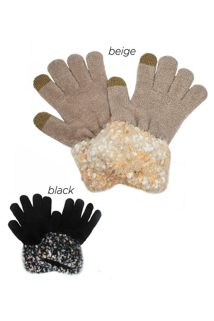 PTGL3504 - Chenille Glove with Berber Cuffs