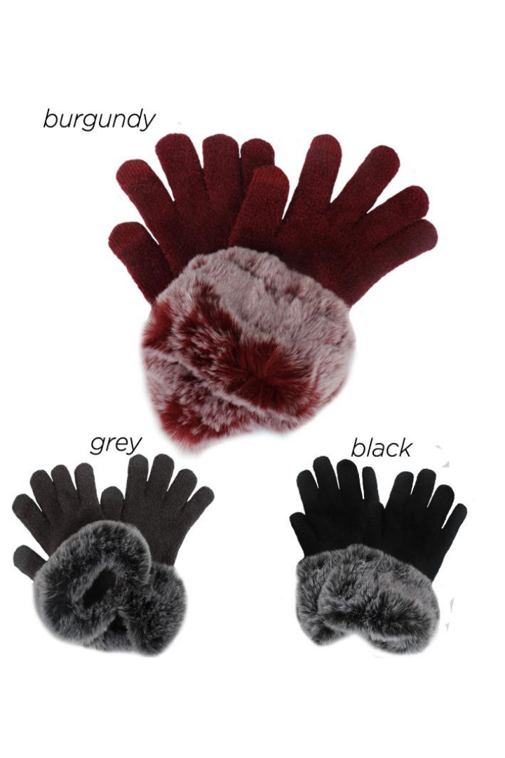 PTGL3508 - Glove with Tipped Faux Fur Cuffs