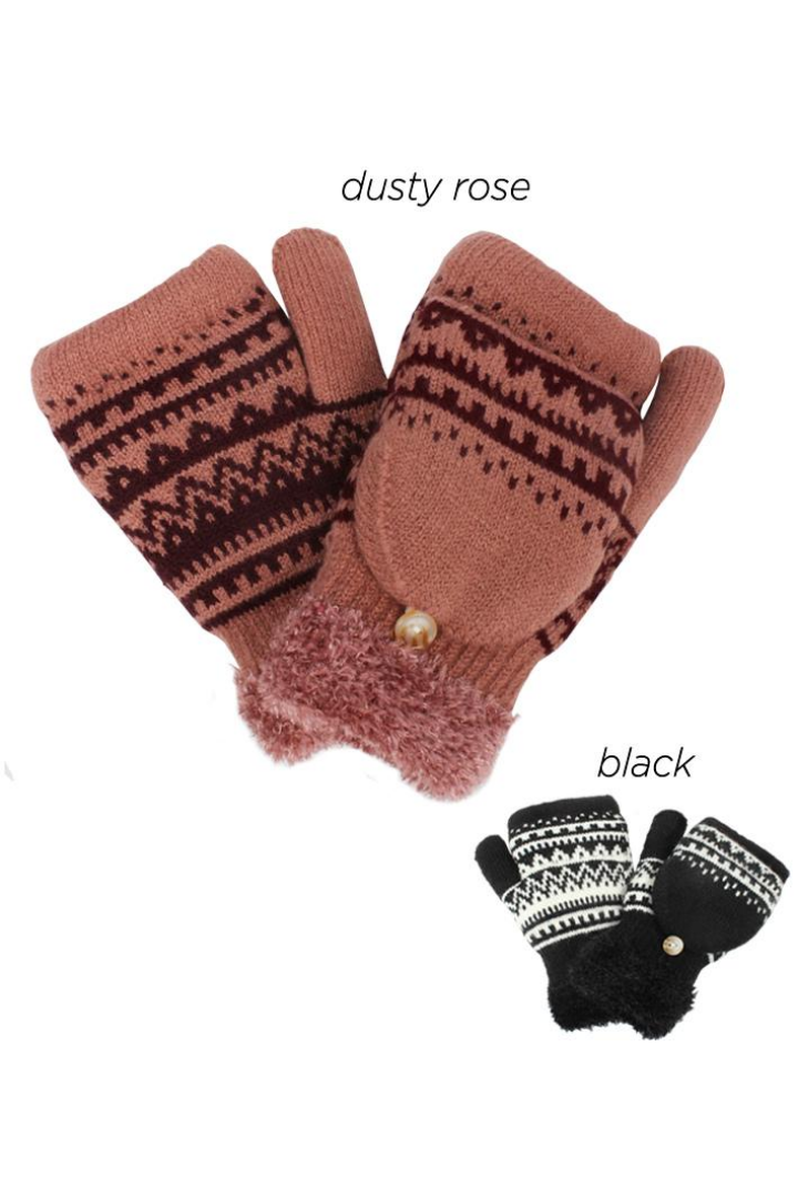 PTFT8107 - Space dye diamond knit flip top cozy glove with chenille lining
