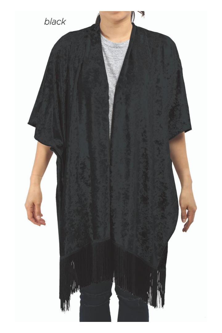 SGWT11813 - Crushed Velvet Shawl With Fringes