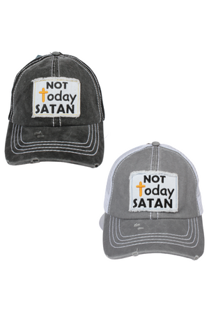 "FWCAPM691 - ""Not Today Satan"" Patch Mesh Back with Plastic Adjustable Closure"