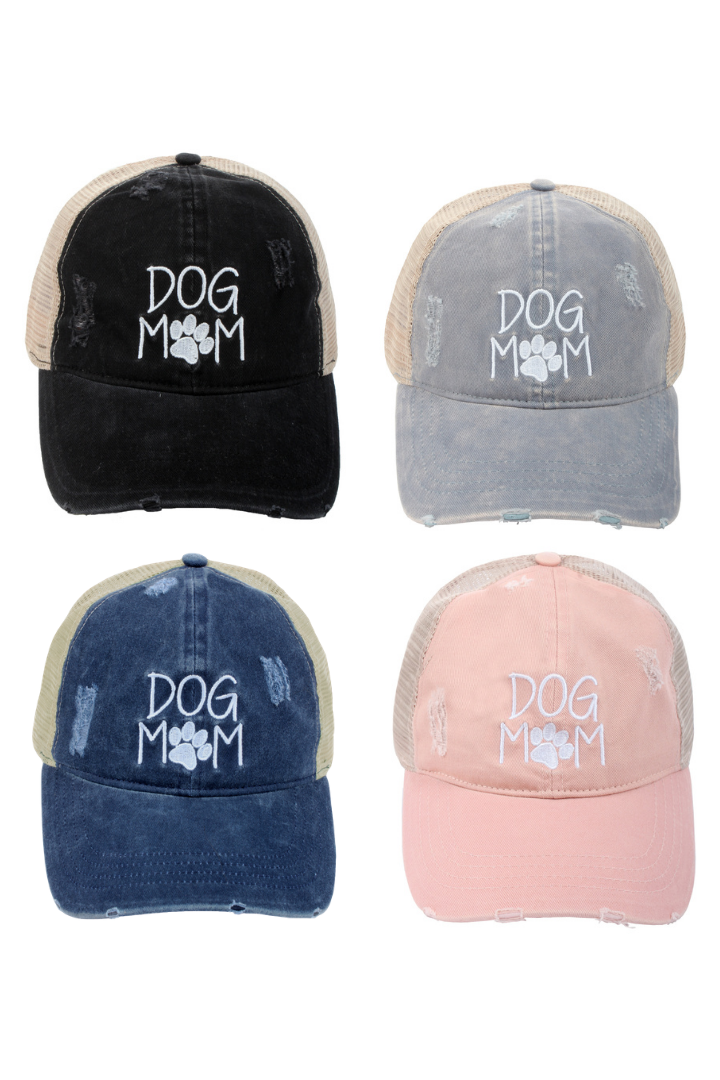 "FWCAPMT568 - Mesh Back Ponyflo Cap with ""Dog Mom"" Embroidery - David and Young Wholesale"