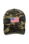 FWCAP126 - Distressed Camo Baseball Cap with American Flag Embroidery