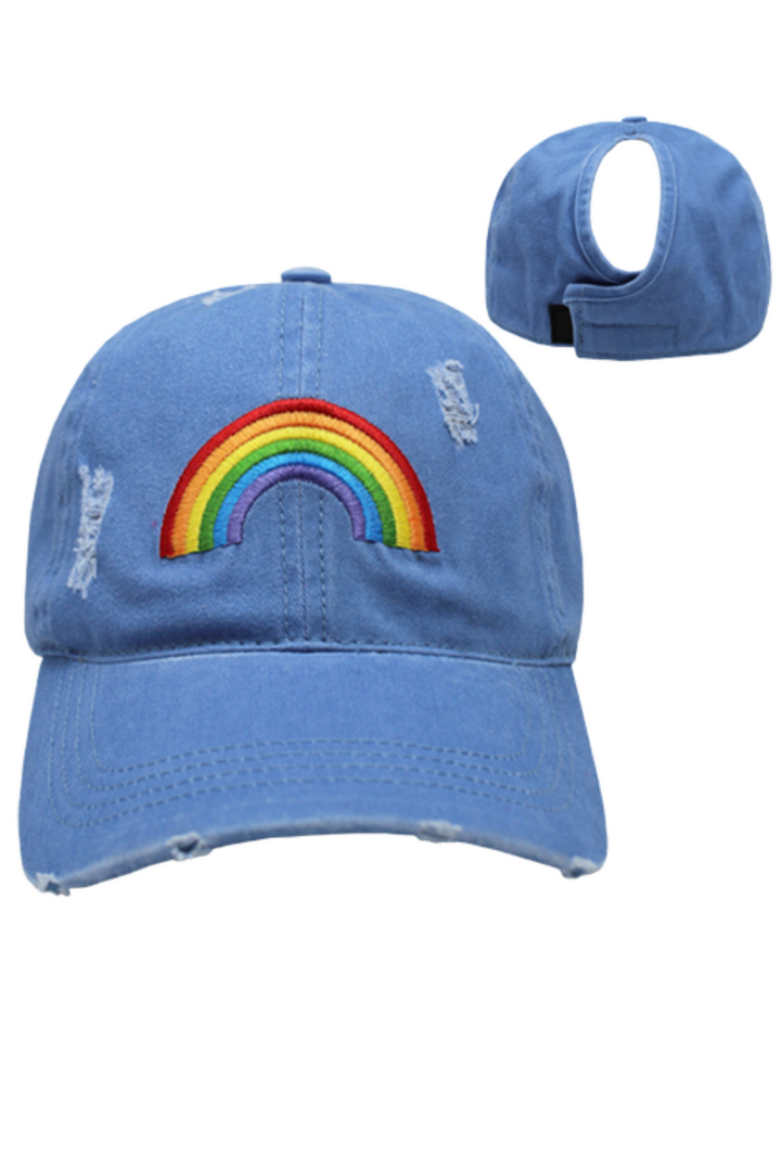 FWCAPT311D - Rainbow Distressed Baseball Cap