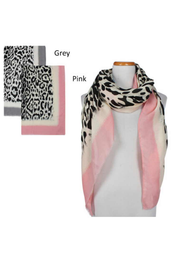 ASF8012 - Cheetah Print with Border Scarf 33.5 X 70.5