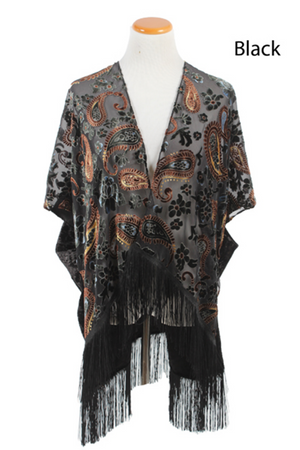 TOR24386 - Burnout Paisley Shawl with Crushed Velvet - David and Young Fashion Accessories