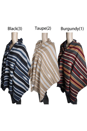 PTOW11146  - Navajo Pattern Blanket Wrap With Eyelash Fringe  27 X 72 - David and Young Fashion Accessories