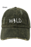 "LCAP401 - ""WILD"" Embroidery Distressed Baseball Cap - David and Young Fashion Accessories"