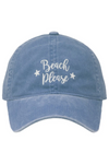 "LCAP1803 - ""Beach Please"" Embroidery Washed Baseball Cap - David and Young Fashion Accessories"