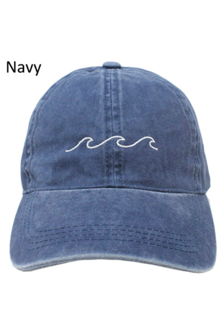 "LCAP031 - ""Waves"" Embroidery Washed Baseball Cap - David and Young Fashion Accessories"