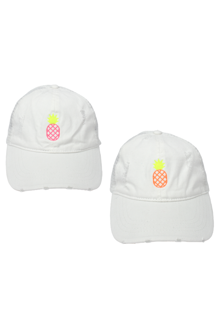 "LCAPM982 - ""Pineapple"" Embroidery Distressed Mesh Back Cap with Plastic Adjustable Closure - David and Young Fashion Accessories"
