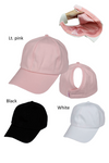 FWCAPT811 - Solid Cotton Ponytail Cap with Satin Lining - David and Young Fashion Accessories