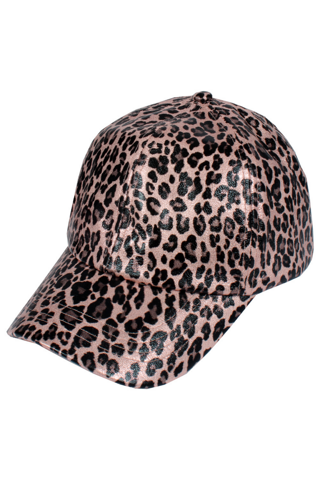 FWCAPT813 - Satin-Lined Pink Leopard Print Ponytail Cap - David and Young Fashion Accessories
