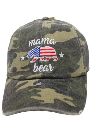FWCAP1213 - Distressed Americana Mama Bear Embroidery on Camo Baseball Cap - David and Young Fashion Accessories