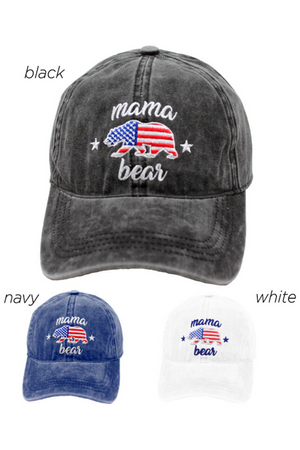 TCAP1217 - Americana Mama Bear on Solid Baseball Cap - David and Young Fashion Accessories