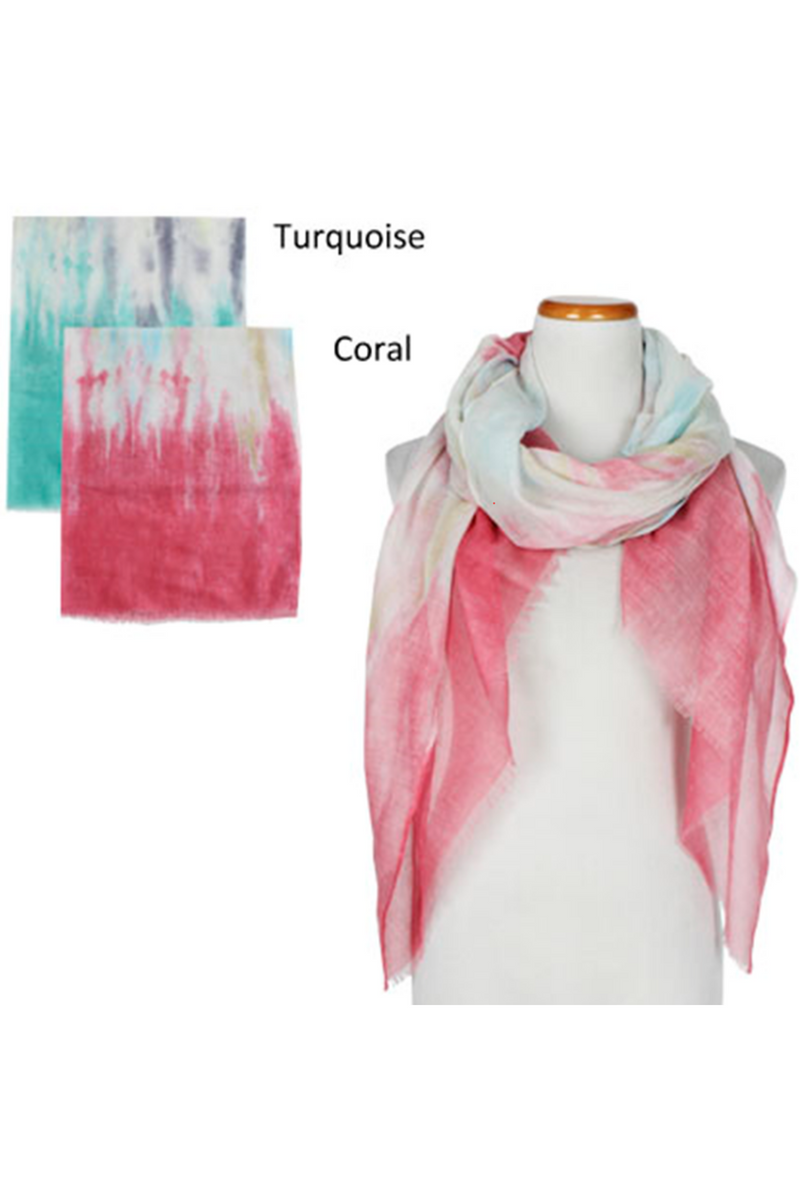 ASF8025 - Tie Dye Oblong Scarf 35 x 70 - David and Young Fashion Accessories