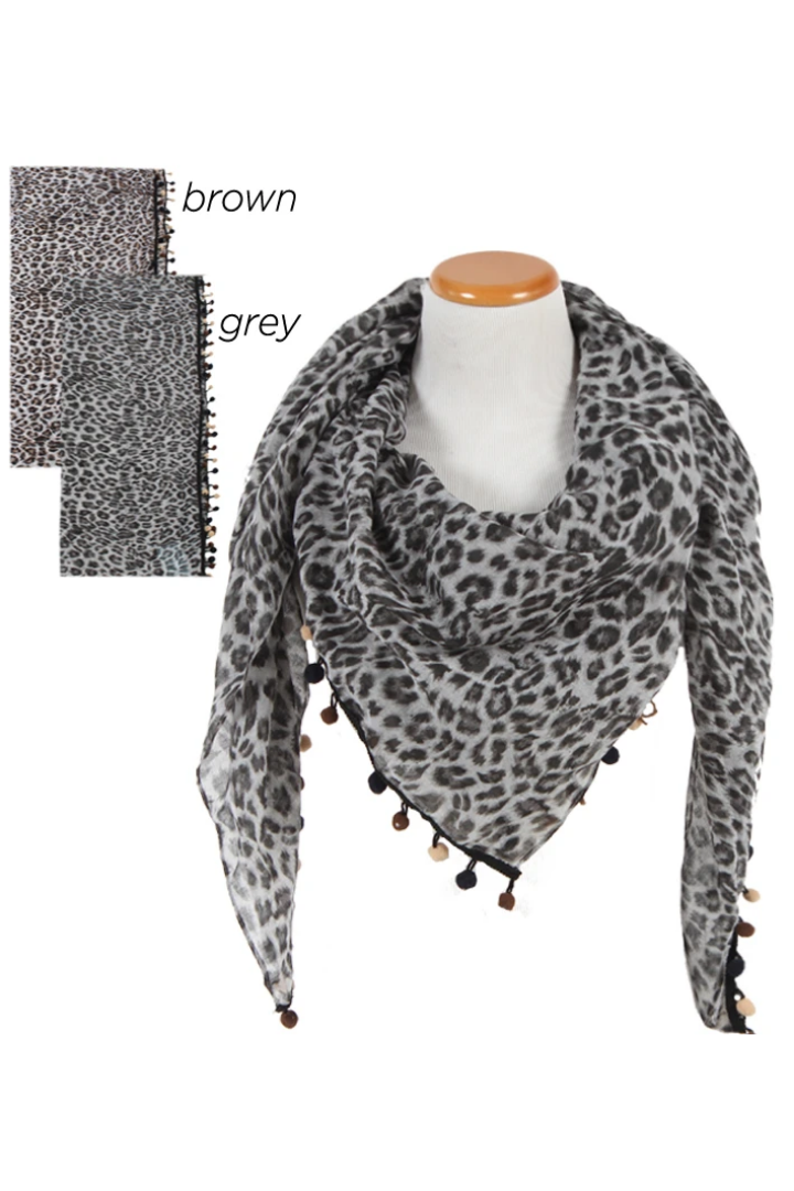 "SGSFQ11744 - Leopard Print Scarf with Tonal Pom Poms ""50X50"" - David and Young Fashion Accessories"