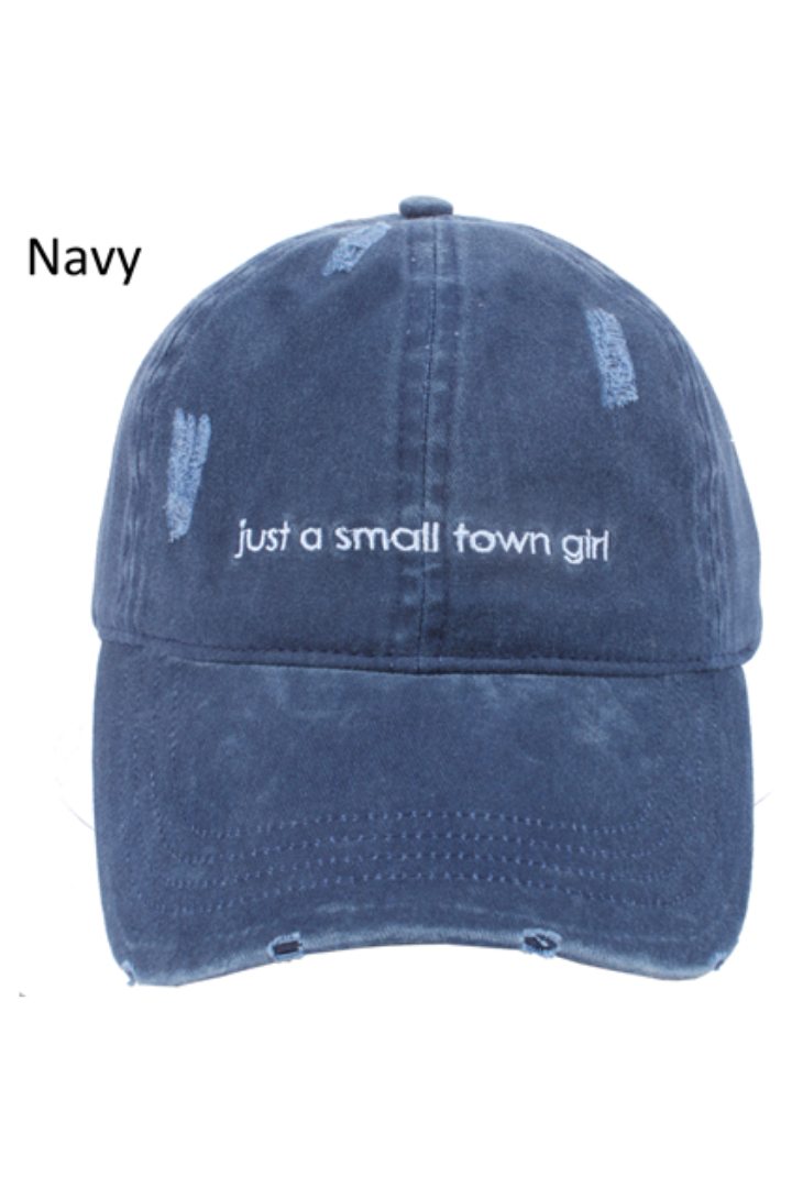 "FWCAP278 - ""Just A Small Town Girl"" Embroidery Distressed Baseball Cap - David and Young Fashion Accessories"