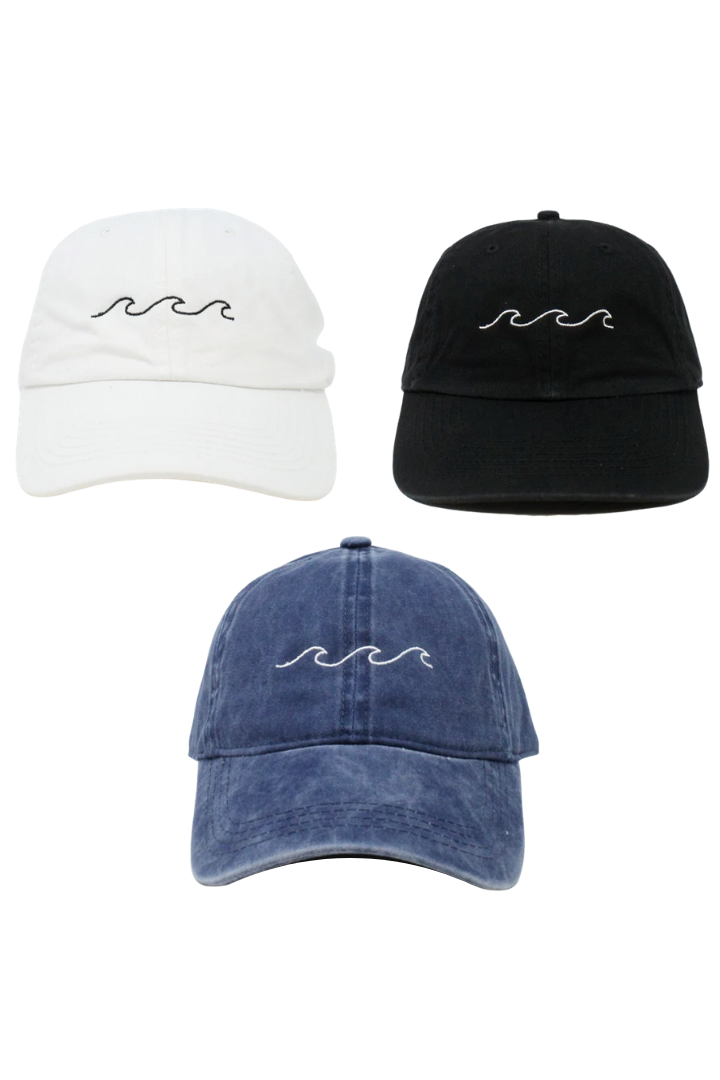 "LCAP776 - ""Waves"" Embroidery Vintage Washed Baseball Cap - David and Young Fashion Accessories"
