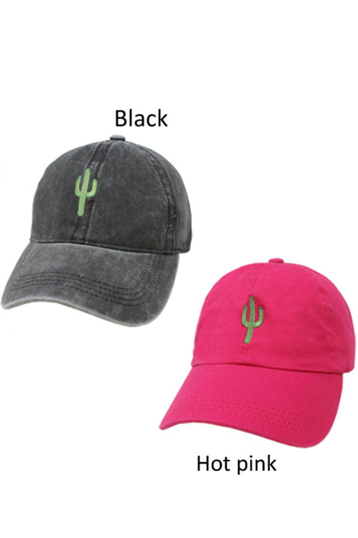 "LCAP245 - ""Cactus"" Icon Embroidery Vintage Washed Baseball Cap - David and Young Fashion Accessories"