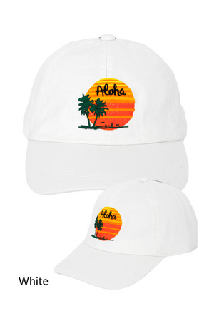 "LCAP185 - ""Aloha"" Icon Embroidery Solid Baseball Cap - David and Young Fashion Accessories"