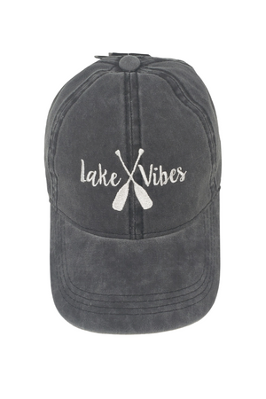 "LCAP744 - ""Lake Vibes"" Embroidery Vintage Washed Baseball Cap - David and Young Fashion Accessories"