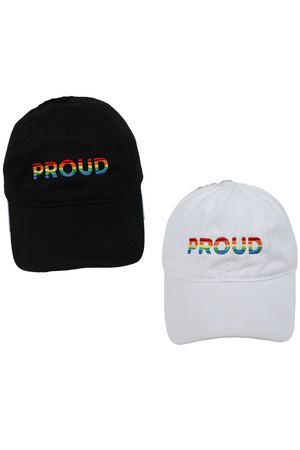 "LCAP946 - ""Proud"" Rainbow Embroidery Solid Baseball Cap - David and Young Fashion Accessories"